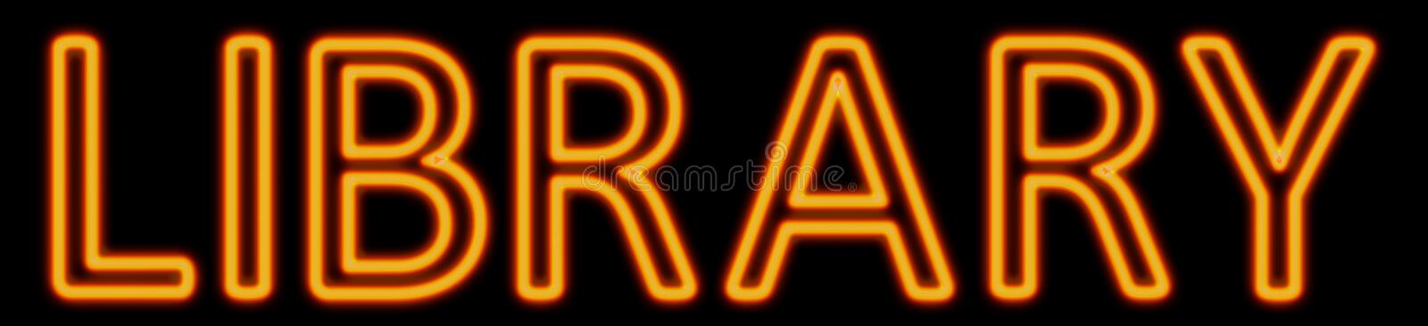 Library neon sign royalty free illustration