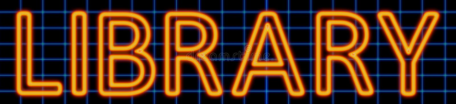 Library neon sign stock illustration