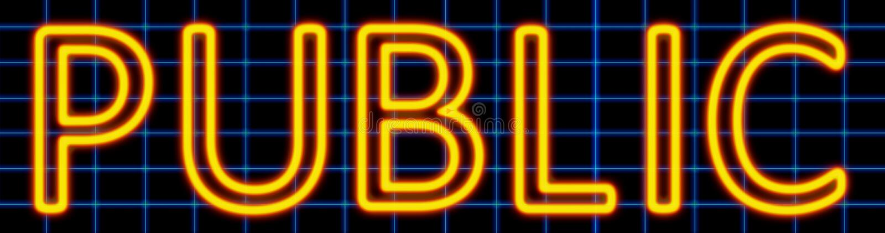 Public neon sign vector illustration