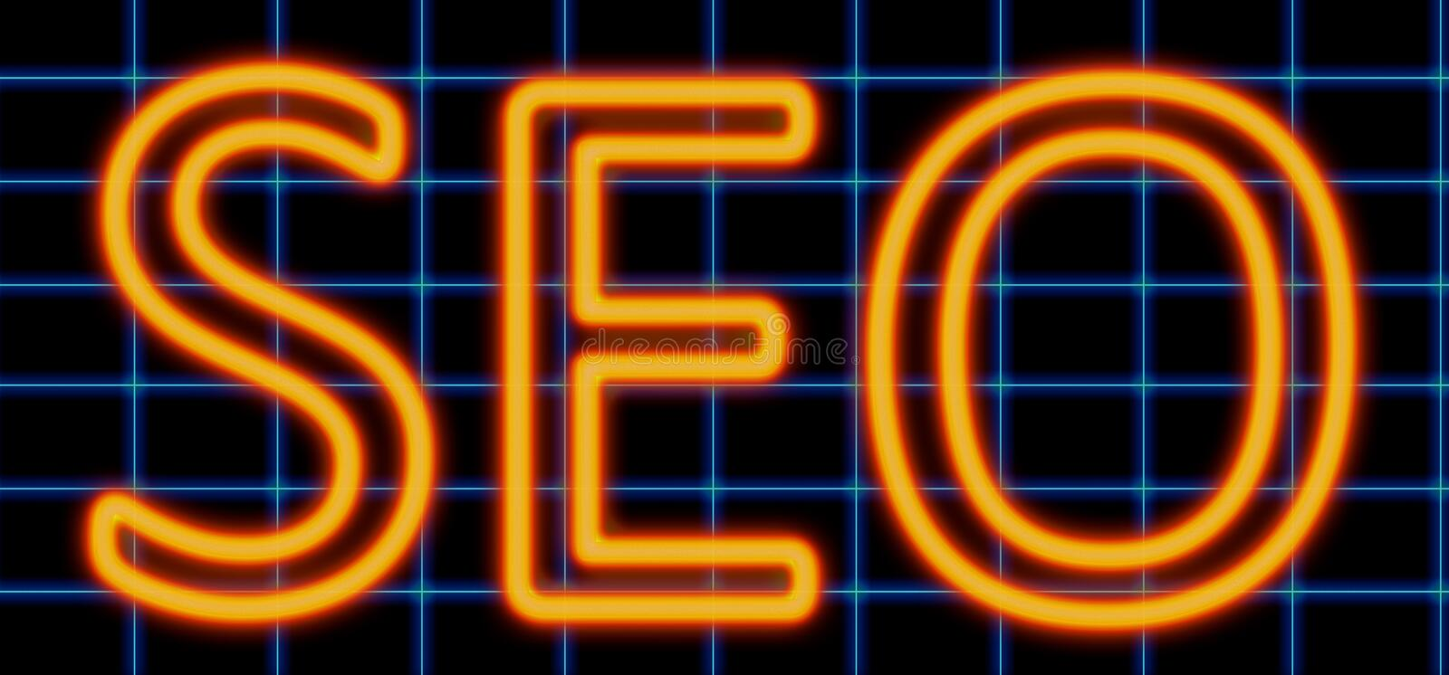 Seo neon sign royalty free illustration