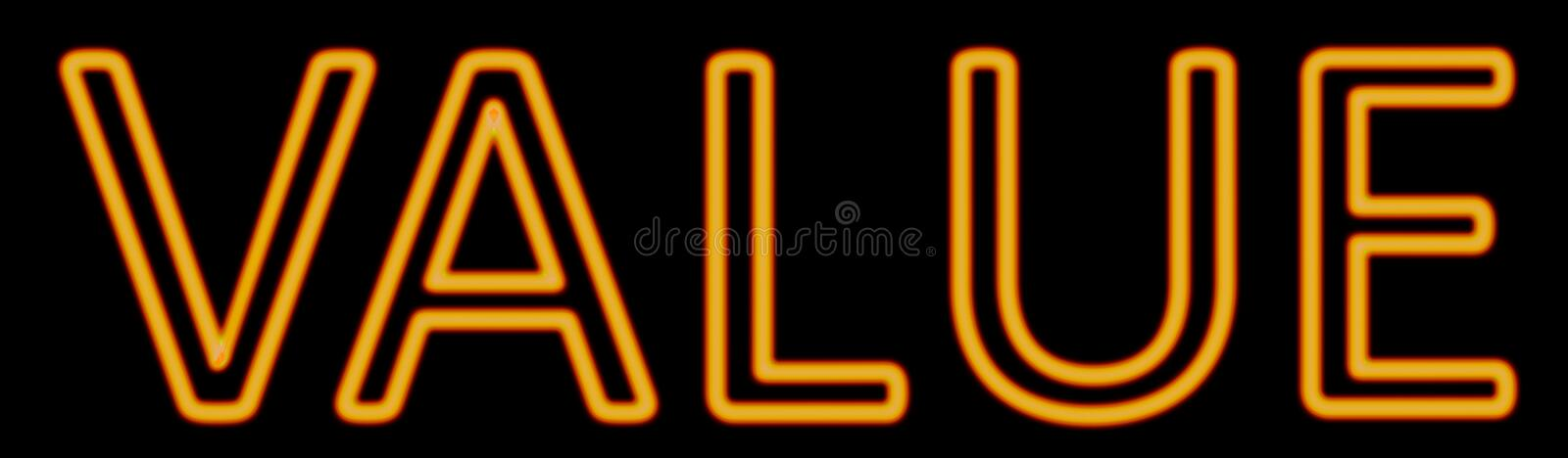Value neon sign royalty free illustration