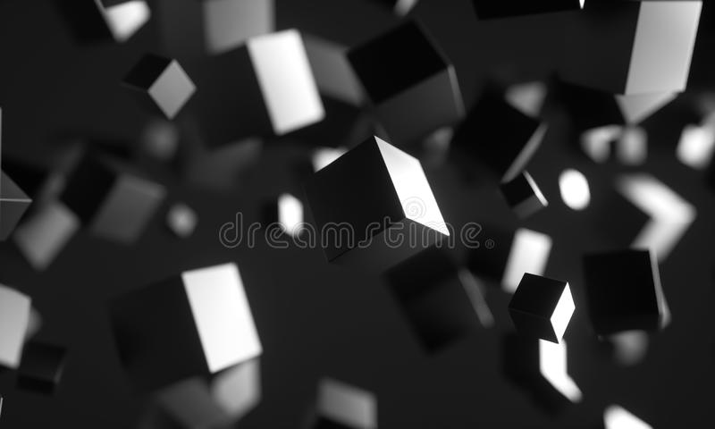 Scifi cubes in empty space. vector illustration
