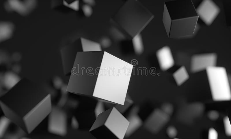 Scifi cubes in empty space. royalty free illustration