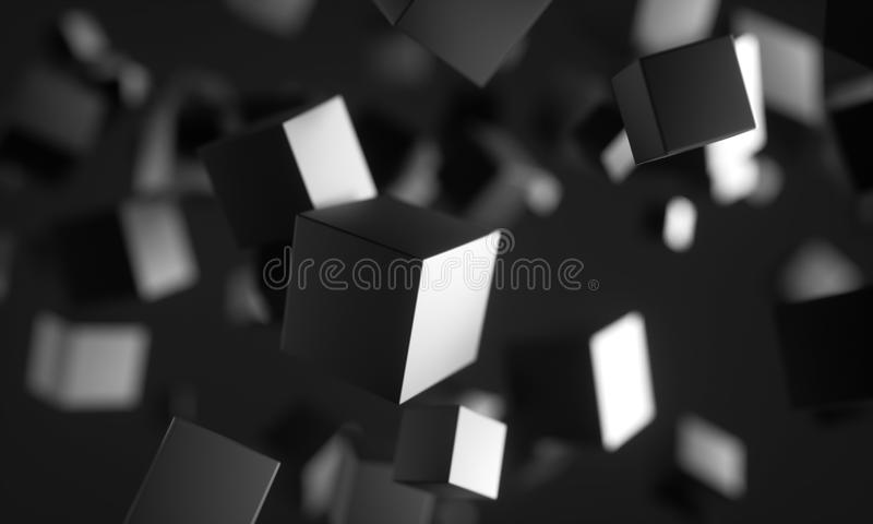 Scifi cubes in empty space. stock illustration
