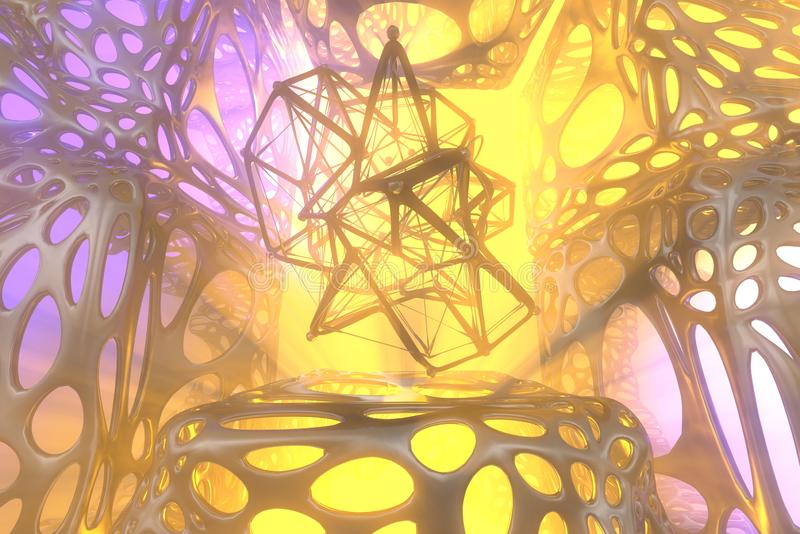 Abstract 3d rendering concept of high poly atomic sphere with chaotic mesh grid cellular mulecular structure. Sci-fi stock illustration