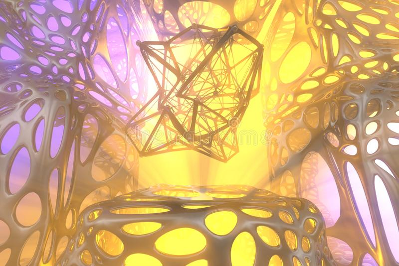 Abstract 3d rendering concept of high poly atomic sphere with chaotic mesh grid cellular mulecular structure. Sci-fi. Background with polygonal shape in royalty free stock photos