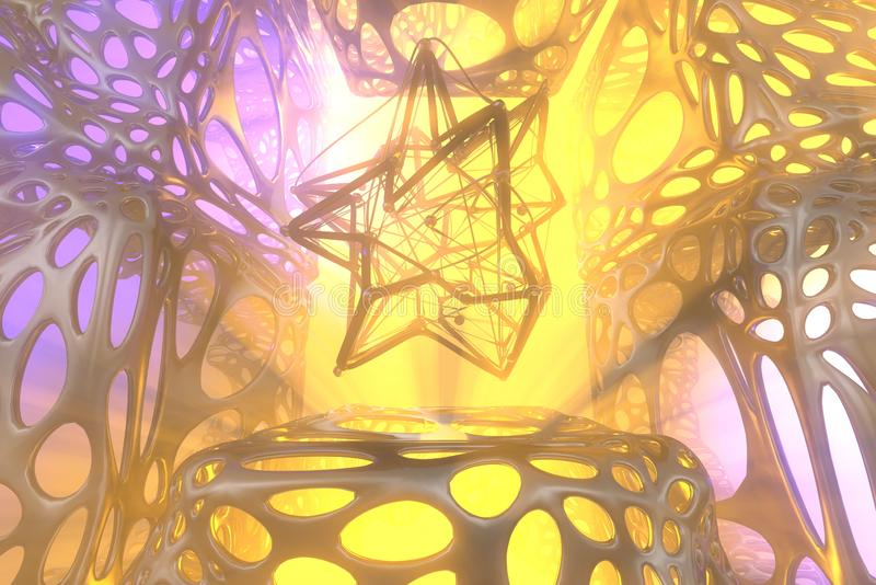 Abstract 3d rendering concept of high poly atomic sphere with chaotic mesh grid cellular mulecular structure. Sci-fi. Background with polygonal shape in stock images