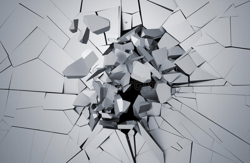 Abstract 3D Rendering of Cracked Surface. vector illustration