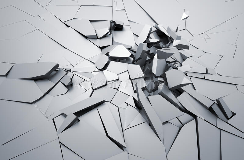 Abstract 3D Rendering of Cracked Surface. stock illustration
