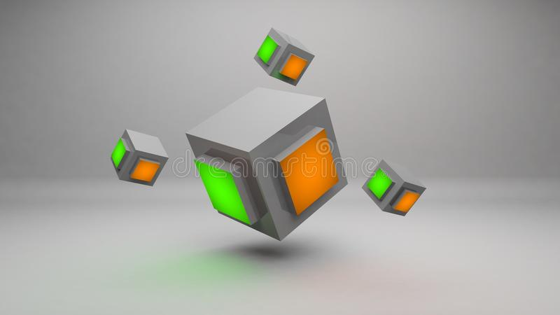 Abstract 3d Rendering Cube Wallpaper Background Image Stock