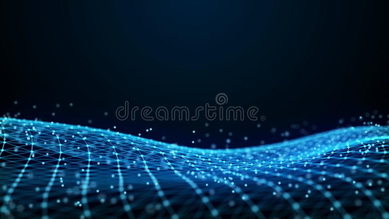Abstract 3d rendering dots and lines. Technology background. Big data visualization. Artificial intelligence. Plexus. stock illustration