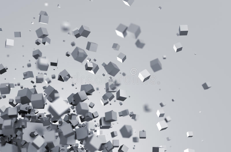 Abstract 3d rendering of flying cubes vector illustration