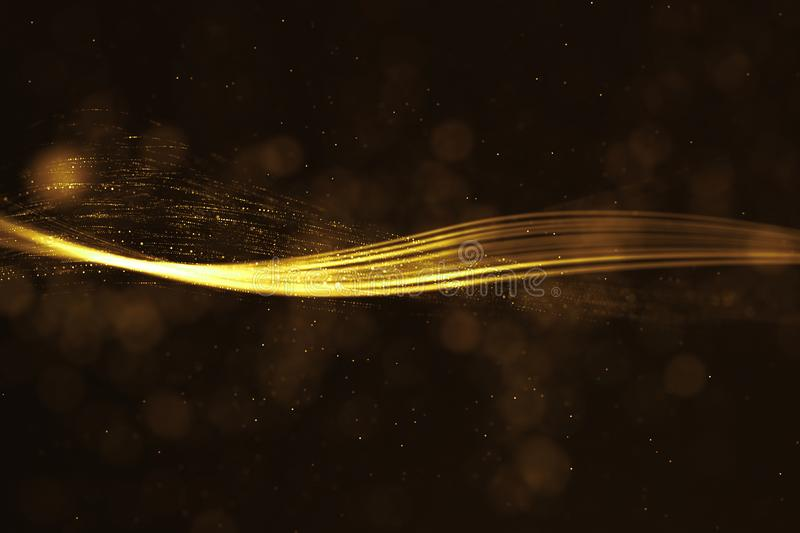 abstract 3D rendering frame digital glitter sparks golden particles with wave shape flowing on gold background, new technology co royalty free illustration