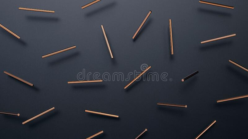 Abstract 3d rendering of geometric background with cylinder shapes. Modern striped minimalistic design for poster, cover, branding royalty free stock photography
