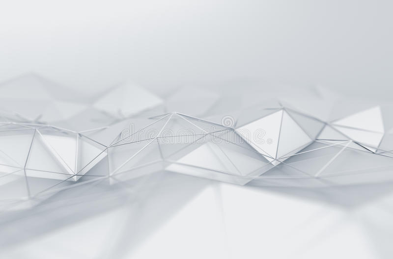 Abstract 3D Rendering of Low Poly White Surface vector illustration