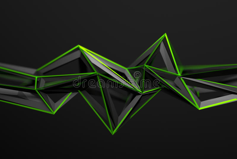Abstract 3D Rendering of Polygonal Shape. stock illustration