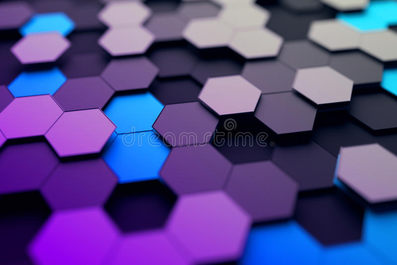 Abstract 3D Rendering of Surface with Hexagons. vector illustration
