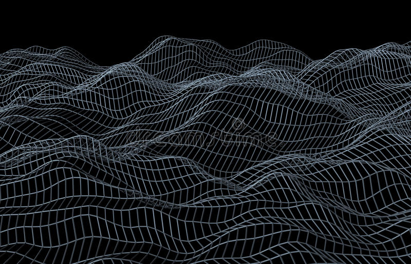 Abstract 3D Rendering of Surface with Waves stock illustration