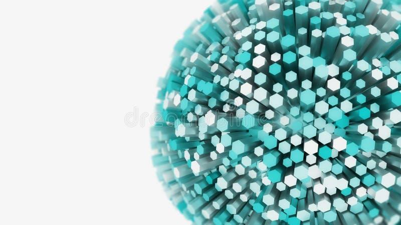 Abstract 3D sferisch explosieconcept stock afbeelding