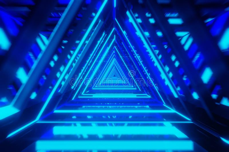 Abstract 3D space background Sci-Fi with a perspective of tunnel triangles neon light. Way to infinity royalty free illustration