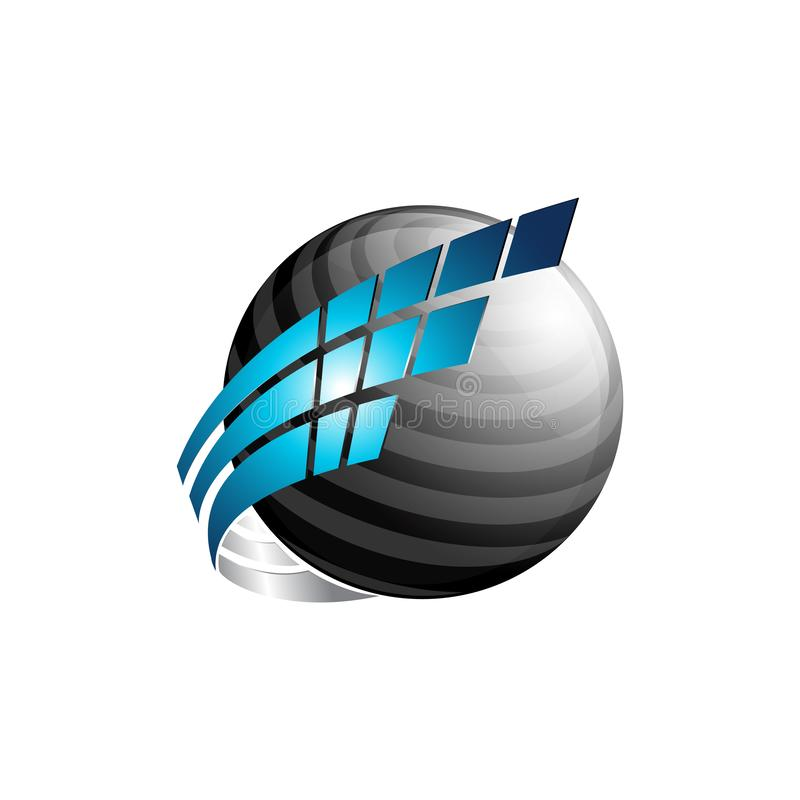 Abstract 3d sphere vector logo with blue and black color royalty free illustration