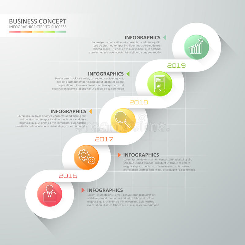 Abstract 3d spiral infographic template 5 steps, vector illustration