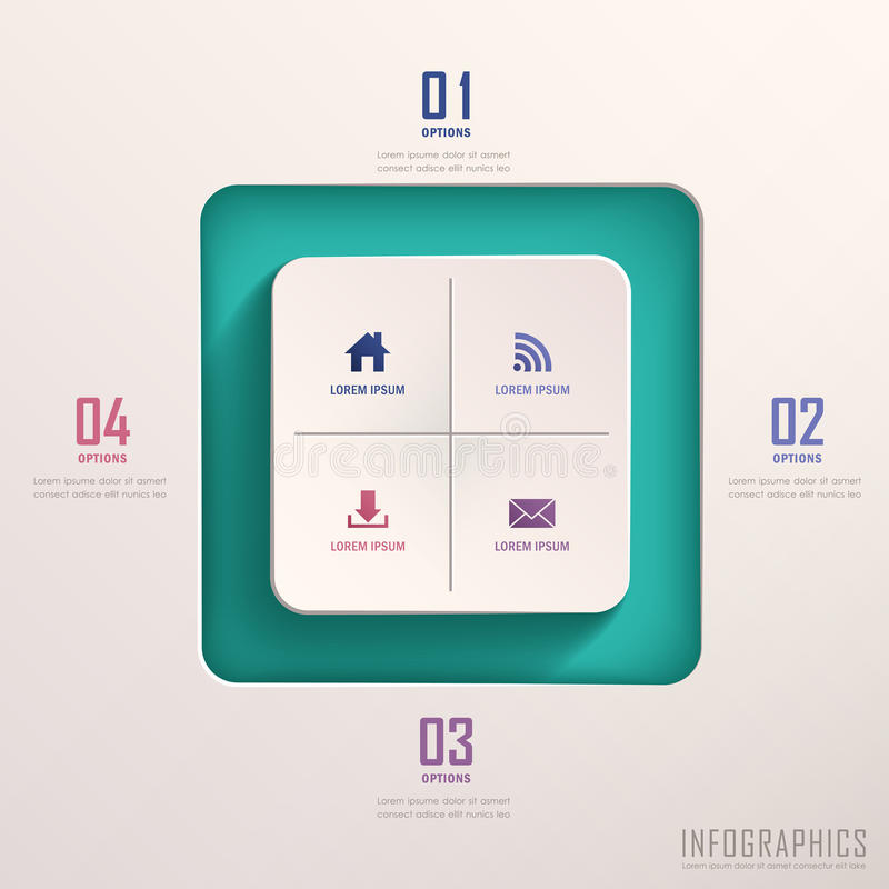 Abstract 3d square infographics stock illustration