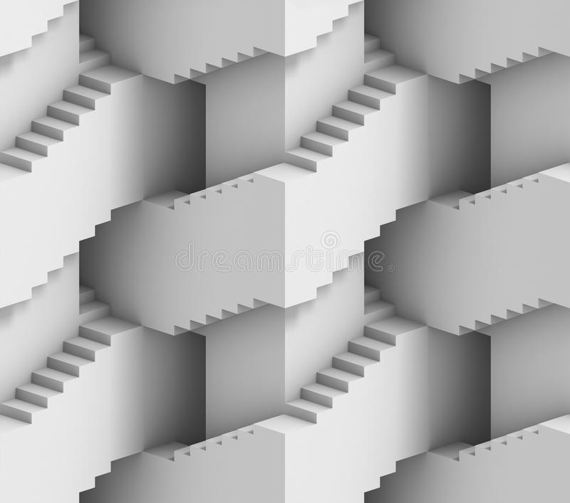 Abstract 3d stairs maze - seamless background stock illustration