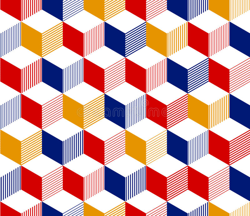 Abstract 3d striped cubes geometric seamless pattern in red blue yellow and white, vector. Background stock illustration