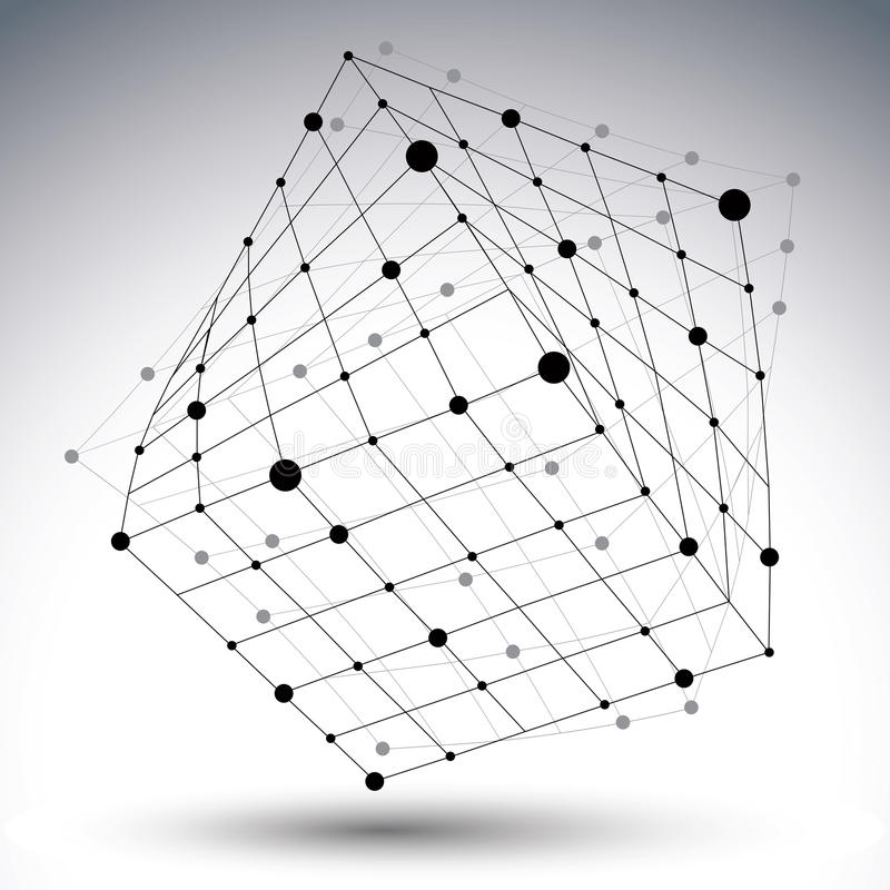 Abstract 3D structure polygonal vector network figure, contrast royalty free illustration