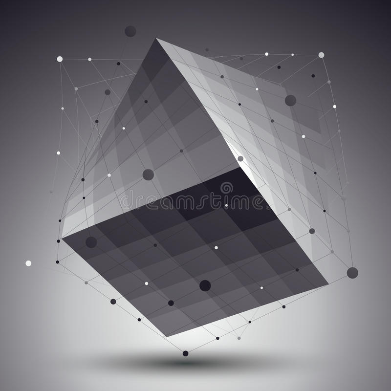 Abstract 3D structure polygonal vector network pattern, grayscale art deformed figure placed over contrast background. stock illustration