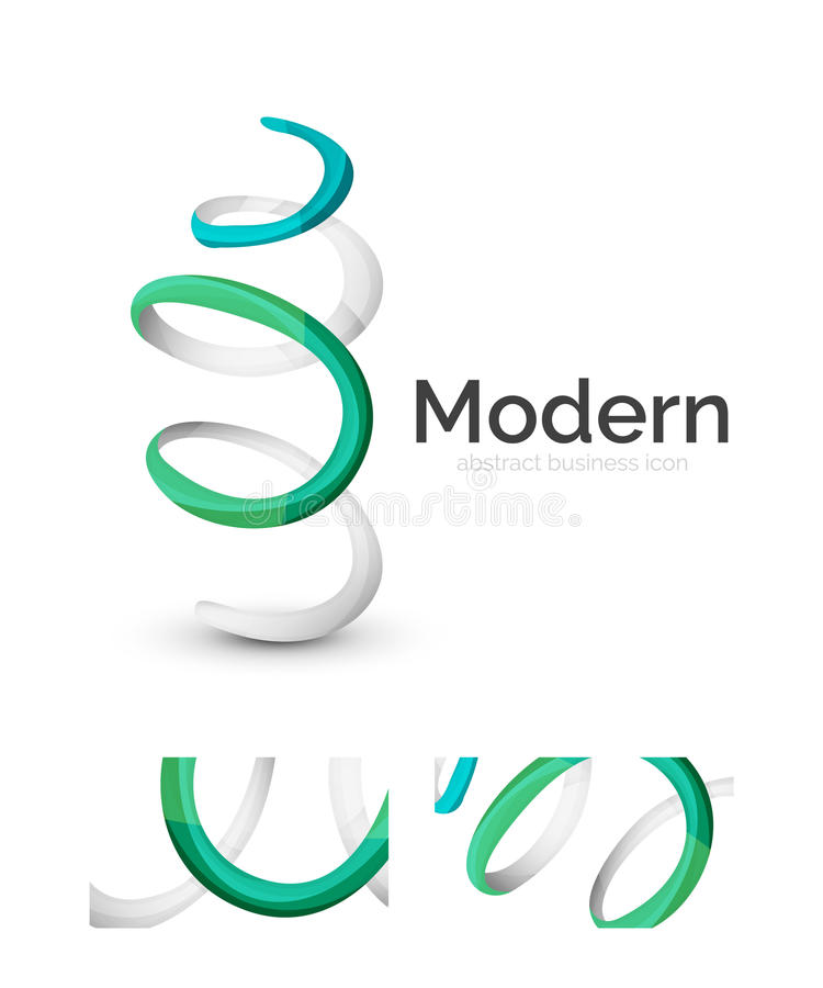 Abstract 3d swirl ribbon logo template with business card corporate identity design royalty free illustration