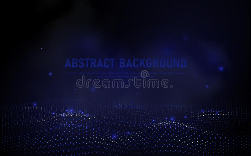 Abstract 3d wave points grid. Big data visualization. Futuristic science and technology background. Visual information complexity royalty free illustration