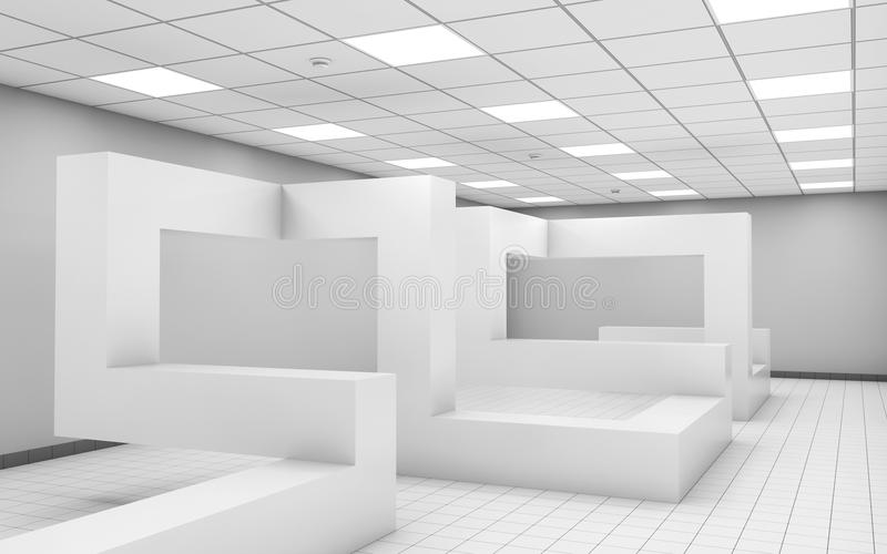 Abstract 3d white empty office room interior stock for A d interior decoration contractor