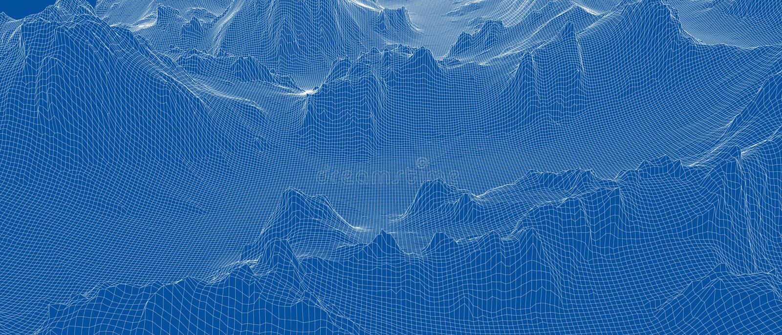 Abstract 3d wire-frame landscape. Blueprint style royalty free stock image
