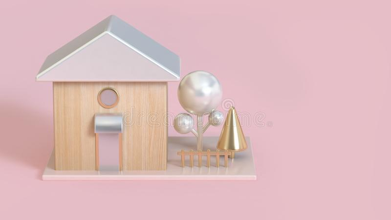 abstract 3d wood house rooftops white pearl metallic and gold tree 3d render buildings-business concept vector illustration