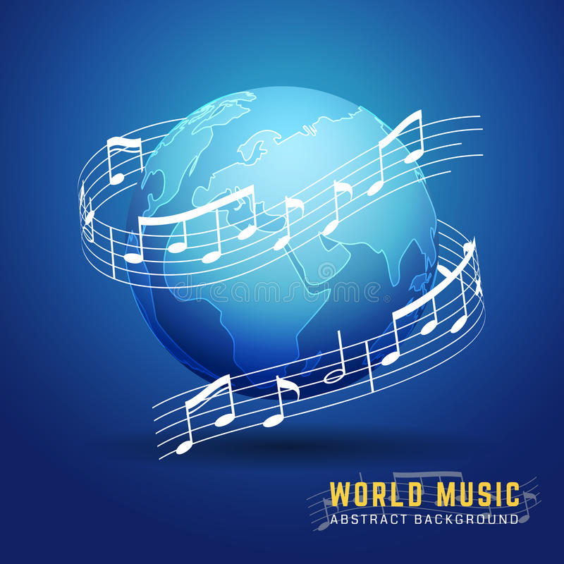 Abstract 3D World Music Design Concept vector illustration