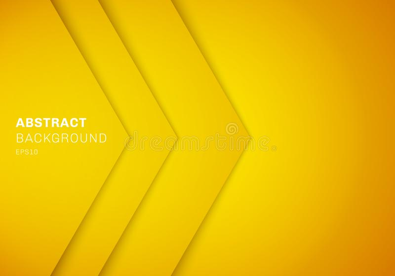 Abstract 3D yellow triangle with overlap paper layer gradient color with copy space background. Vector illustration vector illustration