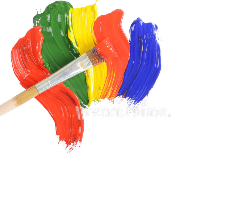 Abstract dabs colour paints. On white background royalty free stock photos
