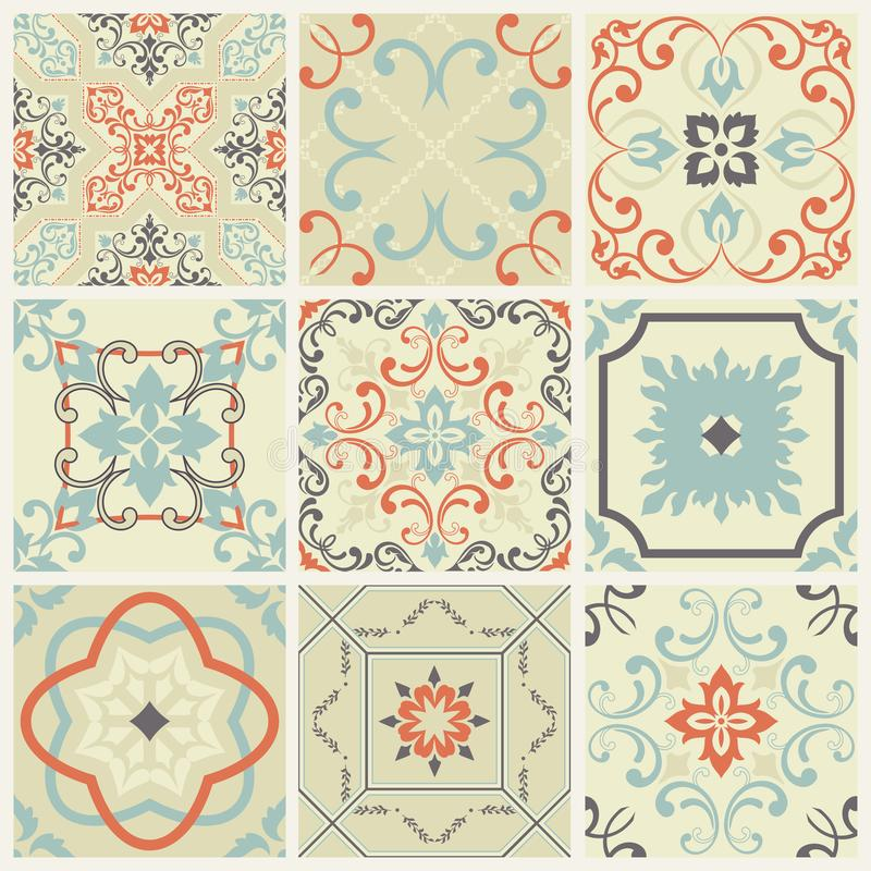 Abstract damask patterns set of nine seamless in retro style for design use. Vector illustration. royalty free illustration
