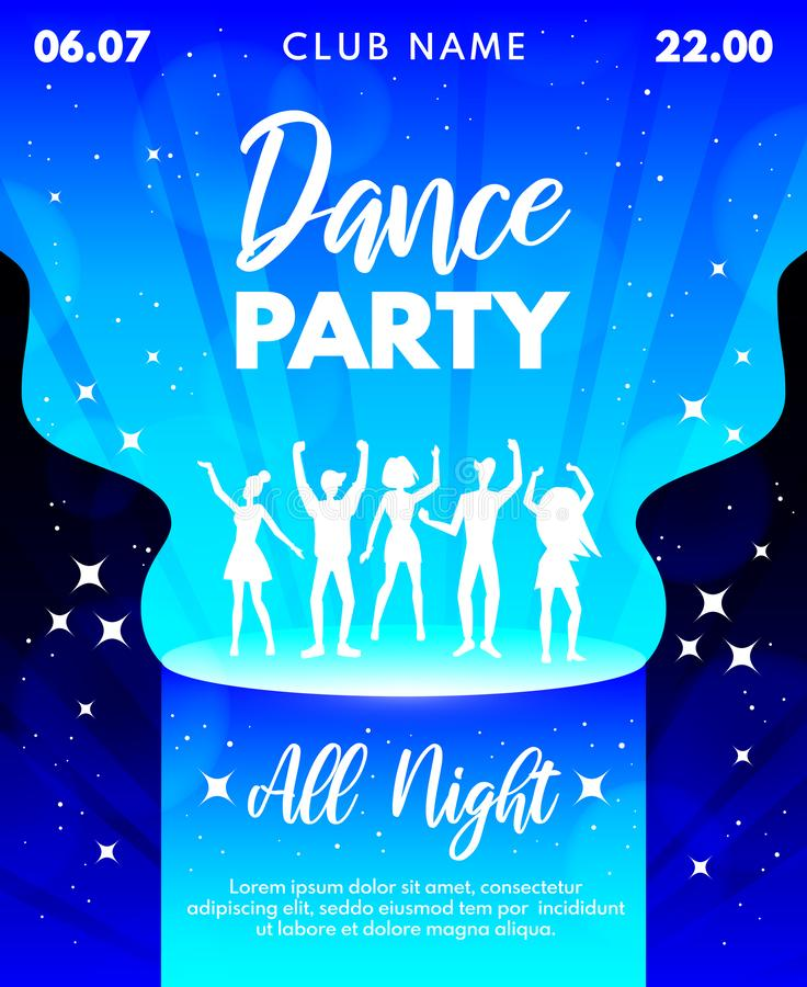 Abstract Dance Party template for banner, flyer, poster, invitation. Place for text. Dancing young people silhouettes. Dance party vector illustration