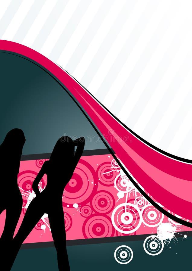 Abstract dancing girls figures vector illustration