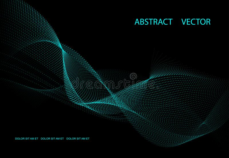 Abstract dark background with blue energy. Point waves. stock illustration