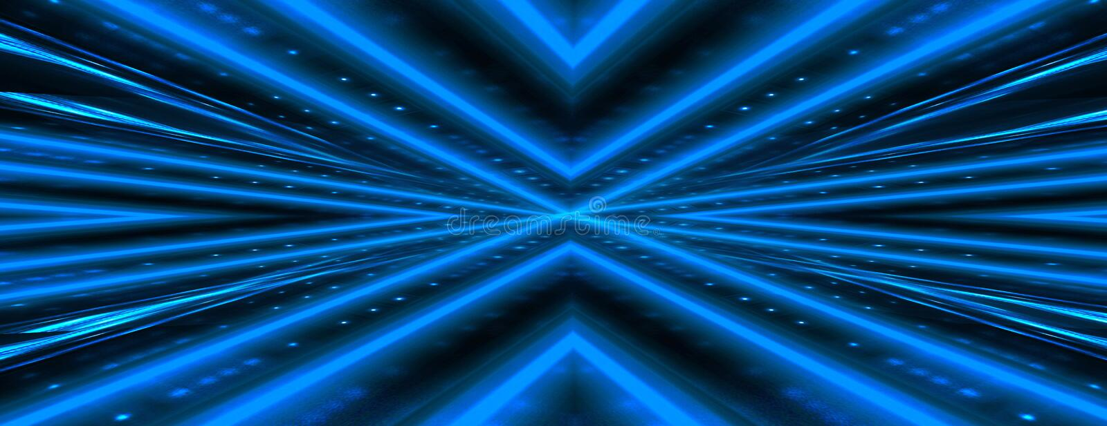 Abstract dark background with brick wall and neon light. Neon blue rays. Dark tunnel with neon blue light, abstract pyramid, light triangle stock images