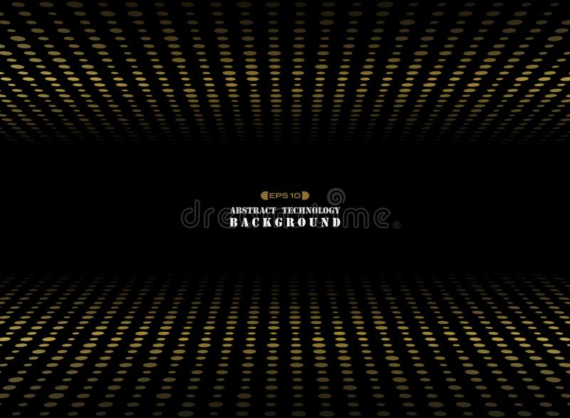Abstract of dark background on gold circle shape dimension random size pattern. royalty free illustration