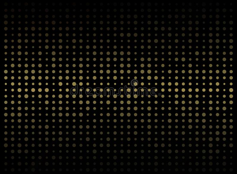 Abstract of dark background on gold circle shape random size pat royalty free illustration