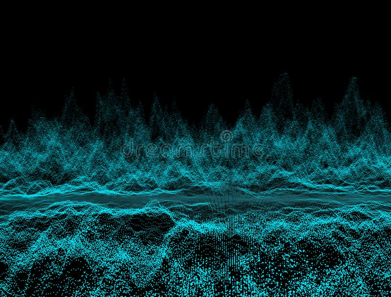 Abstract dark background with moving loop and flicker particles.Motion graphic Backdrop of ball dot Animation of seamless.Digital. Blue-green color wave light stock photos