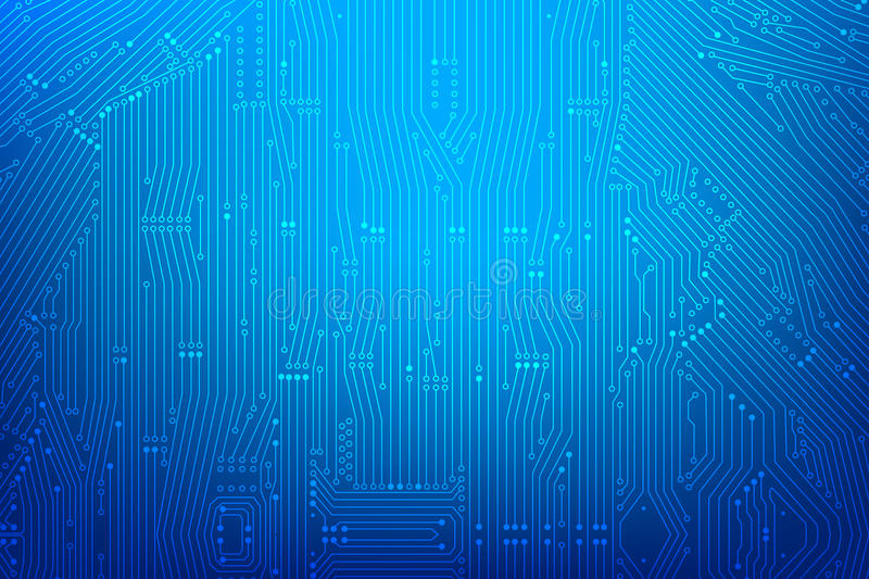 Abstract dark blue background with print circuit board line and stock illustration