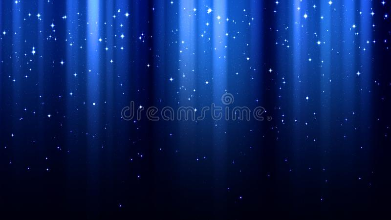 Abstract dark blue background with rays of light, aurora borealis, sparkles, night starry sky stock images