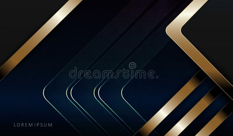Abstract dark blue composition with an arrow and stripes of golden hue. Abstract dark blue texture composition with an arrow and stripes of golden hue stock illustration